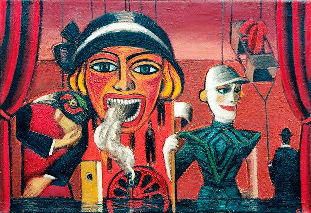 """Marionetten"", Öl/LW, 60x85, 1979"