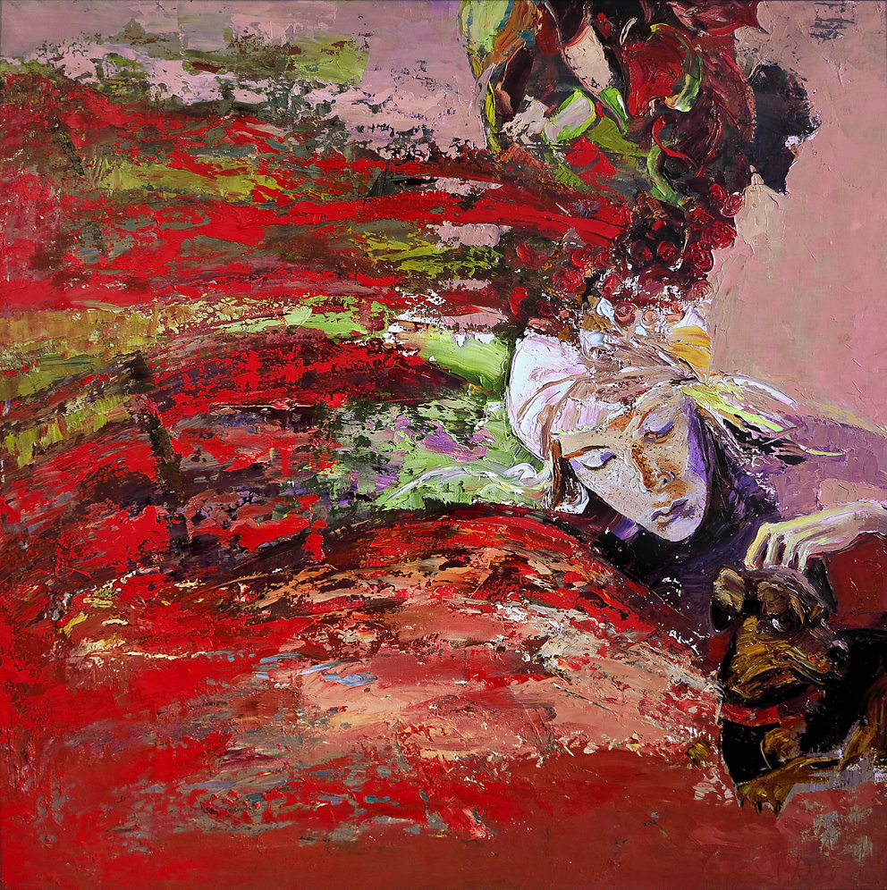 """""""Im Garten"""", Öl/LW, 100x100, 2013"""