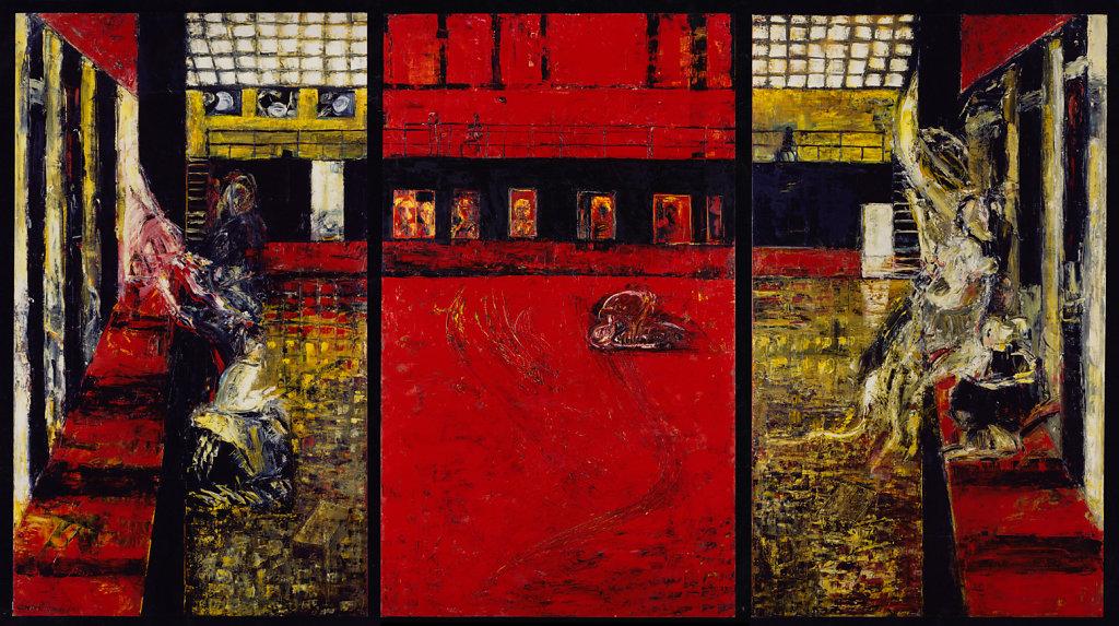 """""""Neue Deutsche Räume"""" (SO36), Öl/LW, 195x345 - dreiteilig, 1995"""