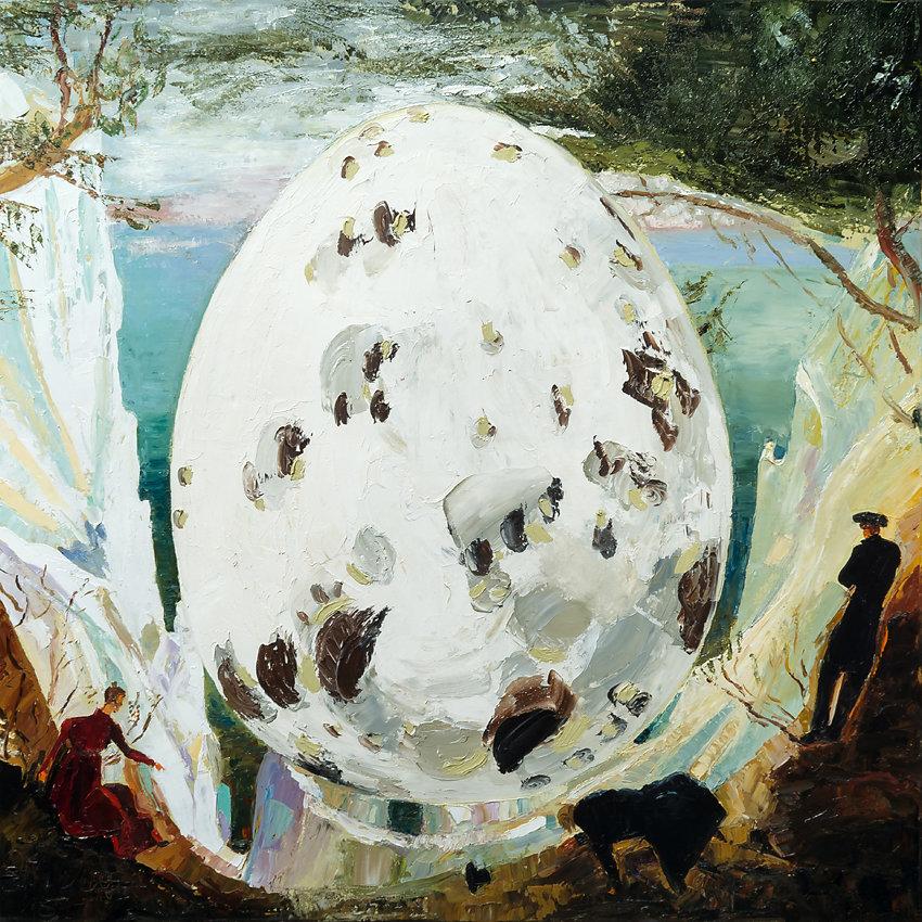 """""""Das Fundstueck"""" -  Hommage an Casper David Friedrich, Öl/LW, 100x100, 2015"""