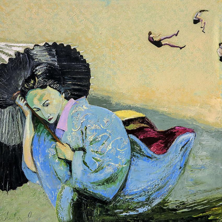 """""""Madam Butterfly"""", Öl/LW, 100x100, 2015"""