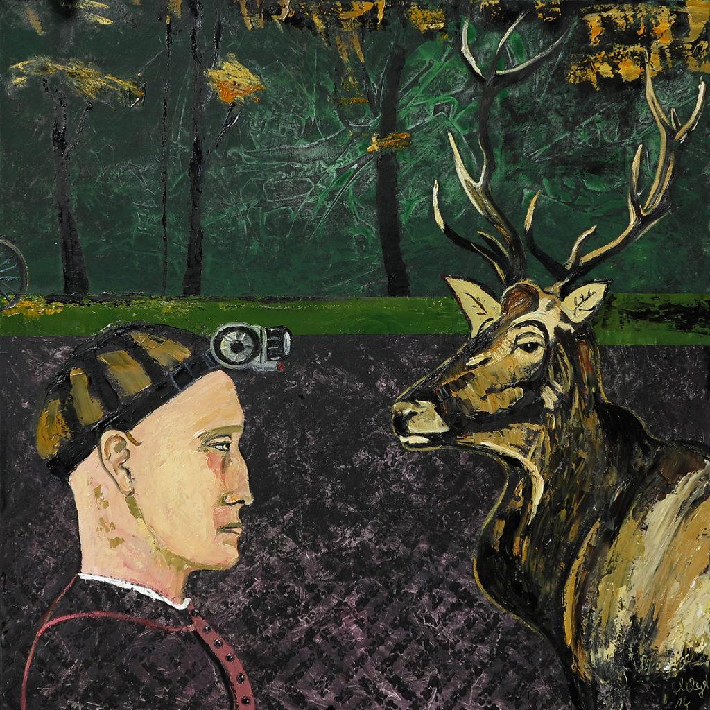"""Platzhirschtreffen"", Öl/LW, 100x100, 2014"