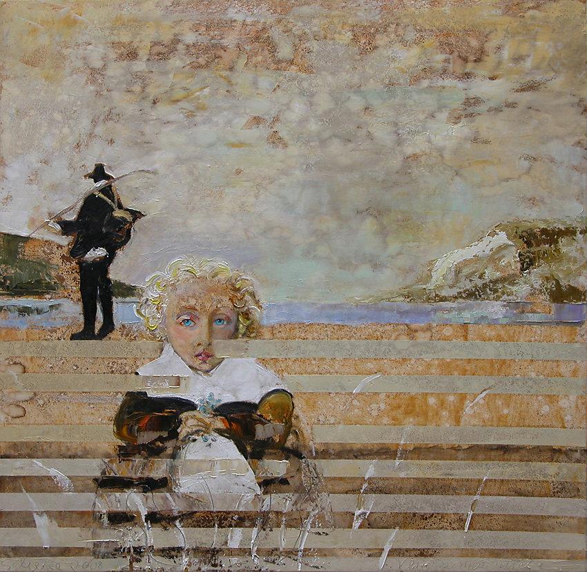 """""""Vergiss mein nicht"""", Öl/LW, 100x100, 2008"""