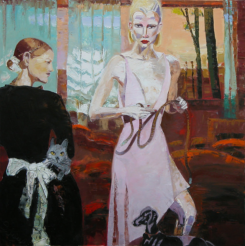 """""""Die Herrin und die Zugehfrau"""", Öl/LW, 100x100, 2012"""
