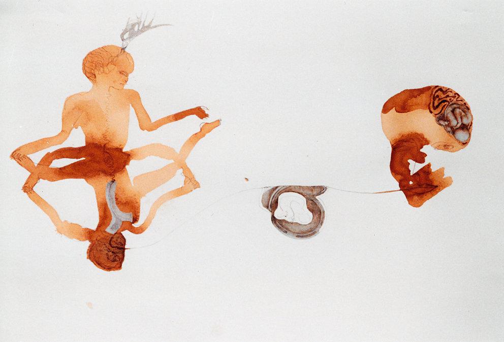 """SchwarzTee Zeichnung """" Wenn die Mißbildung der Virchow Sammlung zu Göttern werden"""", 1998"""