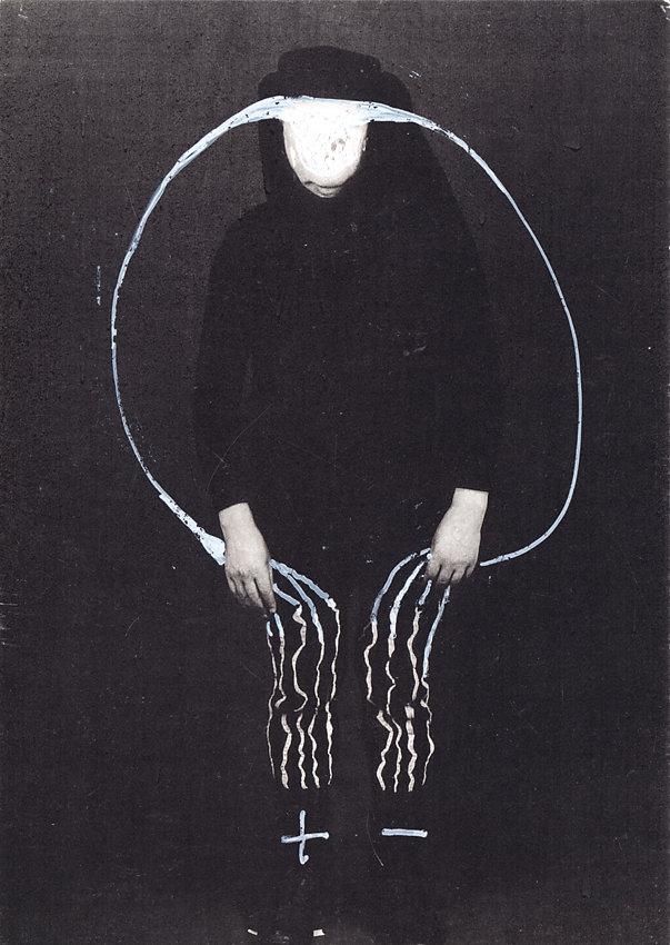 übermalte Postkarte, 1994