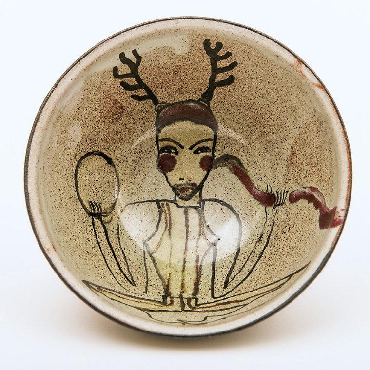 Keramik Wilfriede Maaß, Fayence, Spritztechnik, D 12 cm, 1984