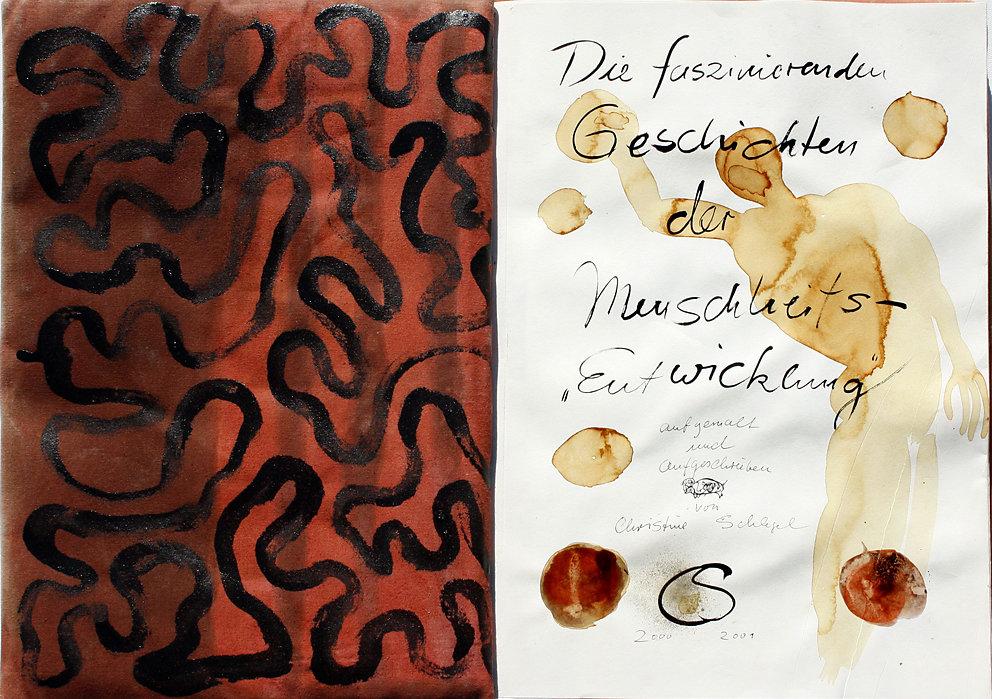 """Hand-Arbeits-Buch """"Die faszinierenden Geschichten der Menschheitsentwicklung"""", 2000/2001 (im Kupferstichkabinett, Dresden)"""