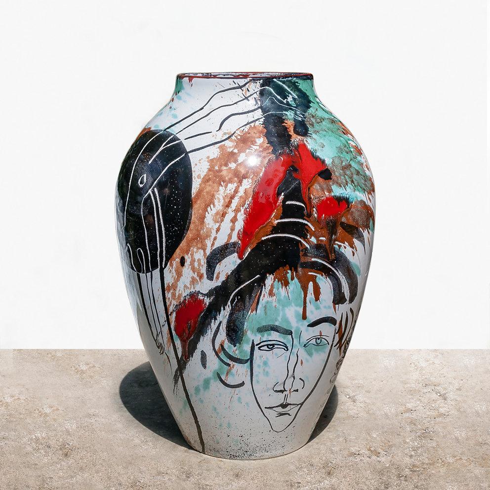 Bodenvase (Majolika - Abguß Max Laeuger Vase von 1900), Majolika 2001